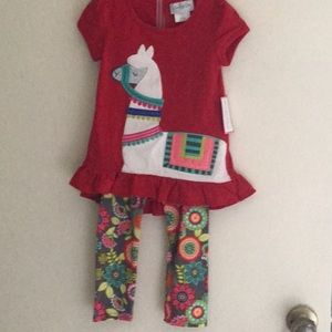 Emily Rose Matching Sets - Llama red 2 pc outfit